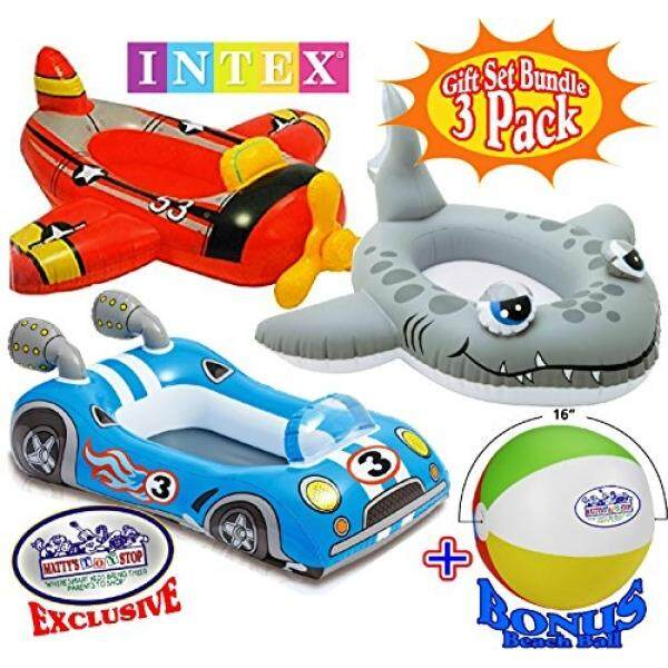 Intex Inflatable Boat Pool Cruisers Airplane, Race Car & Shark Gift Set Bundle with Bonus