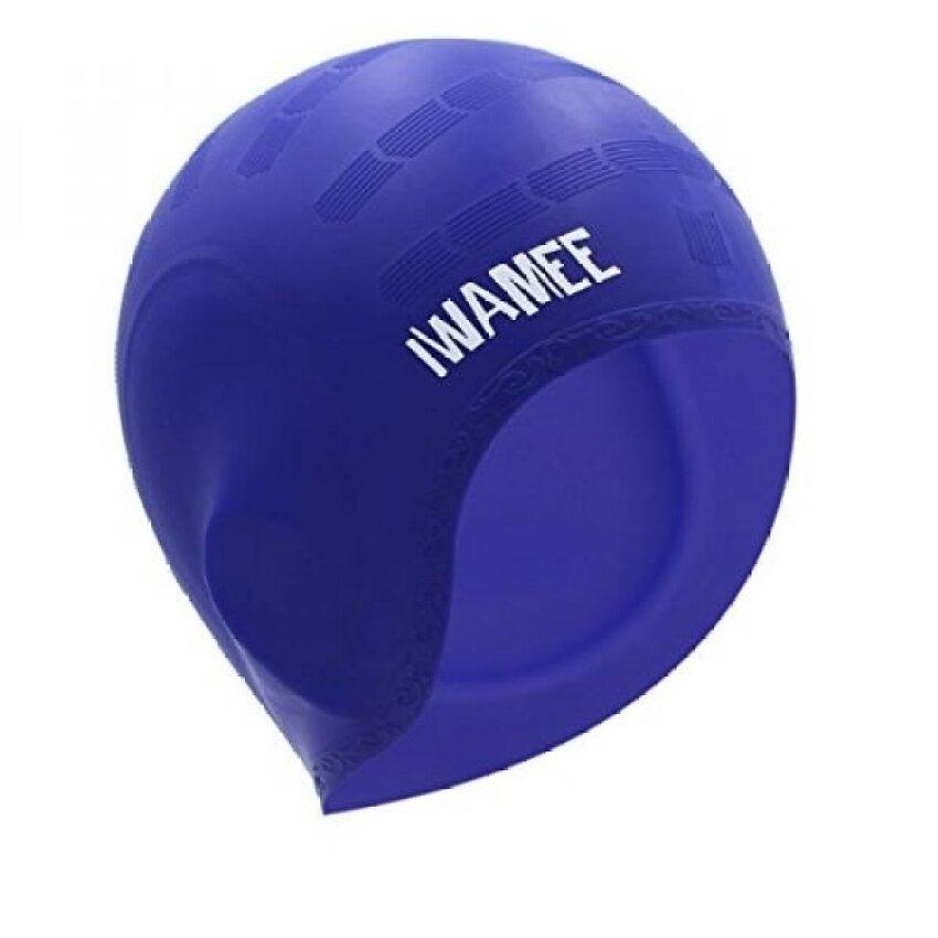 Iwamee Silikon Rambut Panjang Renang Topi Tahan Udara Berenang Hatcomfortable Sesuai Desain Saku Telinga untuk Gimbal atau Pendek Hairadult Pria Wanita membuat Rambut Tetap Bersih Telinga Kering. Biru-Internasional