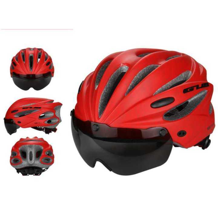 Kobwa Bike Cycling Helmet With Detachable Magnetic Goggles Visor Shield Adjustable Men Women Road Mountain Biking Bicycle Helmet Safety Protection (Red)Size: 260 * 200 * 110 mm
