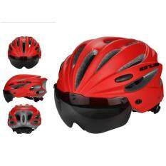 Kobwa Bike Cycling Helmet With Detachable Magnetic Goggles Visor Shield Adjustable Men Women Road Mountain Biking Bicycle Helmet Safety Protection (red)size: 260 * 200 * 110 Mm By Kobwa Direct.