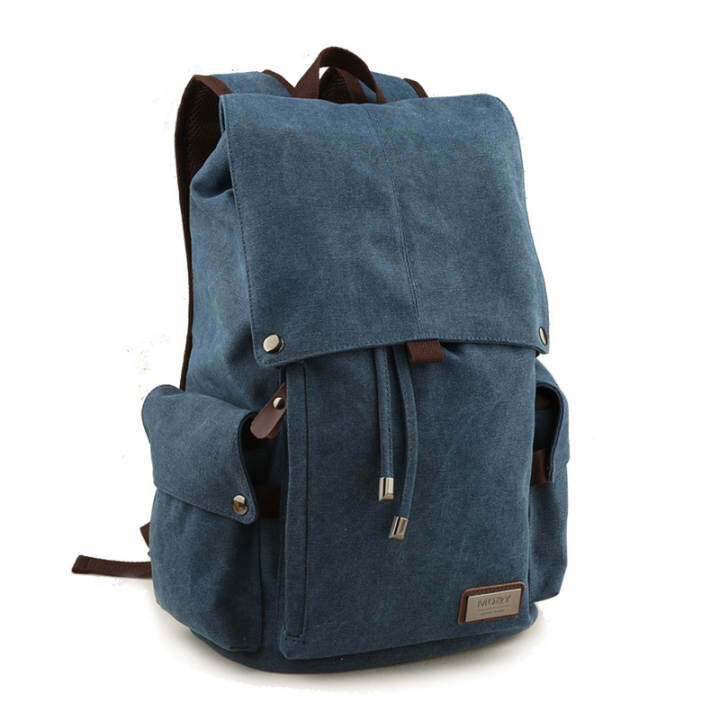 Korean Canvas Backpack Retro Shoulder Travel And Leisure Man Bag Blue Catalog Luggage Gear Mens