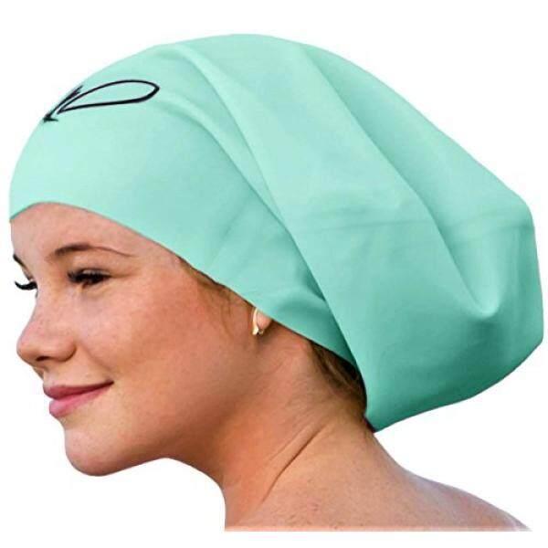 Lahtak™ Tambahan Besar Renang Tutup-Bergaya, anti-Air Silikon Berenang Topi untuk Rambut Panjang Wanita & Pria Dirancang untuk Rambut Tebal, keriting atau Gimbal Rambut Setelan Perenang Rekreasi (Mint)-Internasional