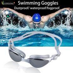 Leegoal Adult Non-Fogging Anti UV Swim Eyeglass Swimming Goggles (Silver Gray)