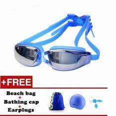Men Women Anti Fog Uv Protection Swimming Goggles Professional Electroplate Waterproof Swim Glasses(blue) By Panda Online.