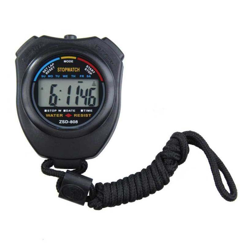New Digital Running Timer Chronograph Sports Stopwatch Counter with Strap (Black) Malaysia