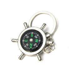 Newest Portable Alloy Silver Nautical Compass Helm Keychain Ring Chain