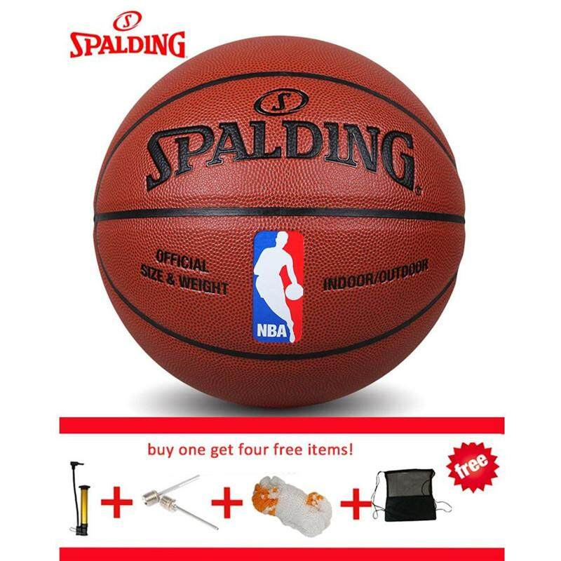 Original Spalding Basketball Bola Basket Spalding Size7 Pu Leather 74 602Y With Net Bag Pin And Inflator Intl In Stock