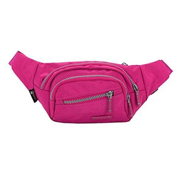 OrrinSports 3 Zippers Water Resistant Polyester Sports Fanny Pack with Waist Belt