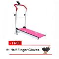[OSS] BUGZ SPORT New Design Foldable Mini Pink Treadmill B withFREE Half Finger Gloves-M
