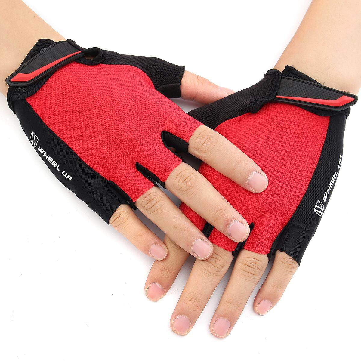 Hình ảnh Outdoor Sports Cycling Bicycle Bike Half Fingers Fingerless Gloves Universial S Red - intl