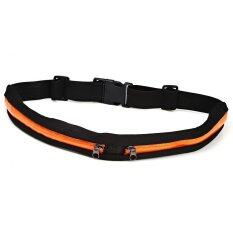 Ecosport Outdoor Sports Riding Running Double-Zip Pockets Waist Belt Phone Bag (orange) By Florasun.