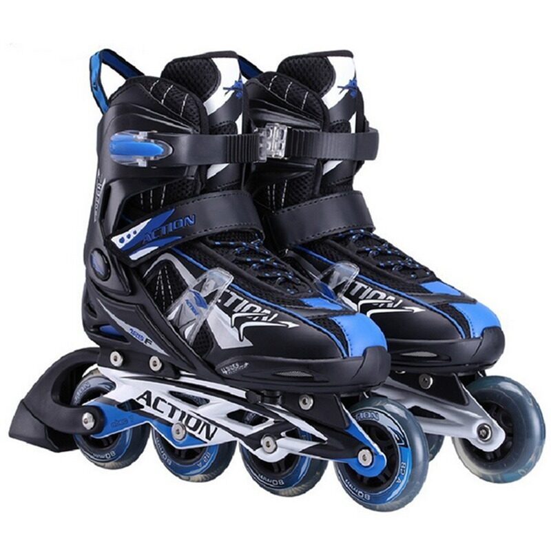 Pro Roller Style Adjustable Inline Skate Outdoor Sport Shoes(Black Blue) ... af4e9713d1
