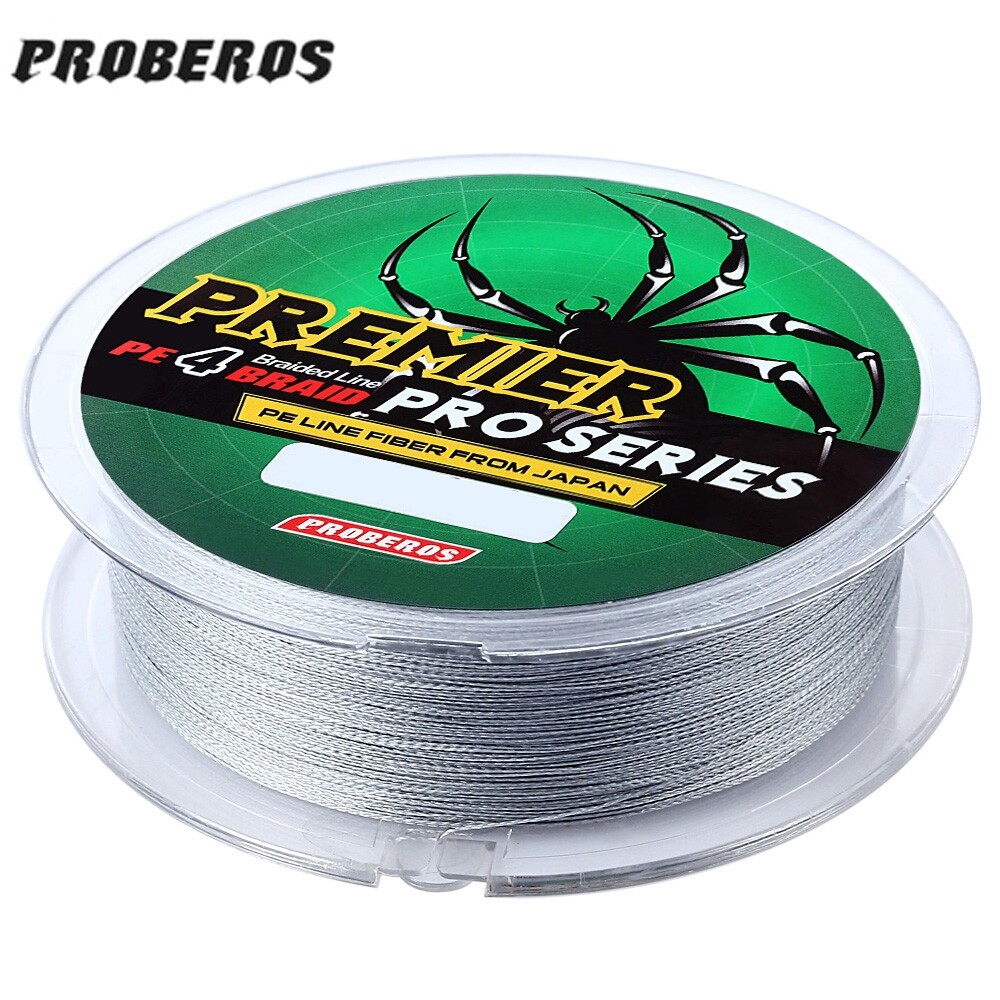 PROBEROS 100M PE 4 Strands Monofilament Braided Fishing Line Accessory 50LBS(Gray) (MY