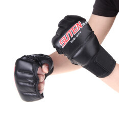 PU Leather Half Mitts Mitten MMA Muay Thai Training Punching Sparring Boxing Gloves