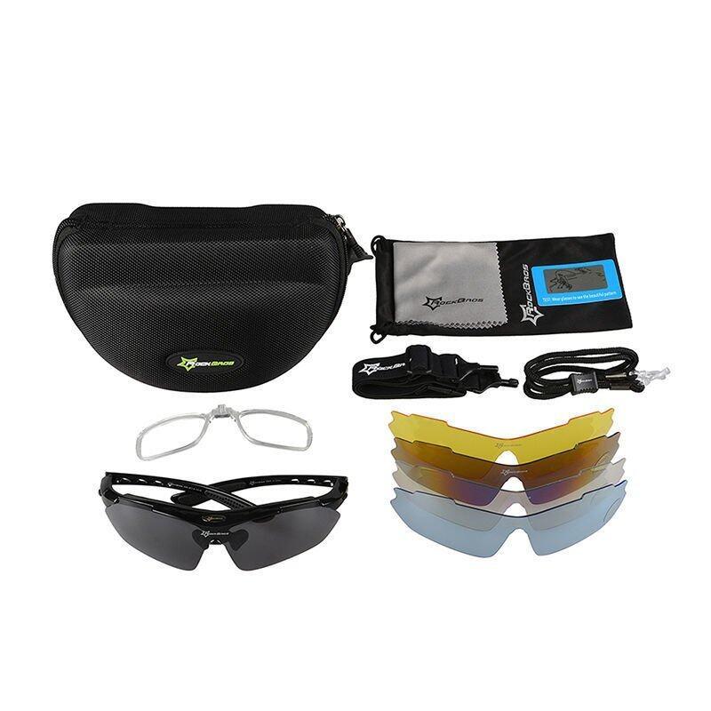 Newzone RockBros Cycling Outdoor Polarized Glasses Sunglasses Goggles 5 Lenses Black(Export)