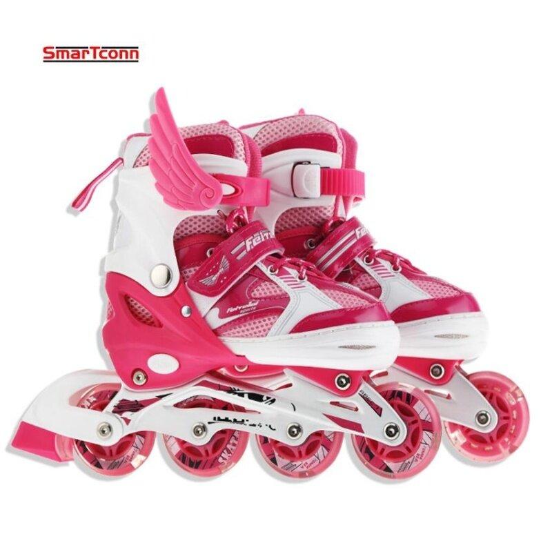 Phân phối Roller Skate Shoes For Kids Inline Skates Daily Street Brush Skating Girls Boys Adjustable Roller Skates (Size:S)