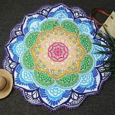 Round Pantai Berpasir Handuk Yoga Pad Lotus Bunga Pola Pencetakan dengan Jumbai-Intl