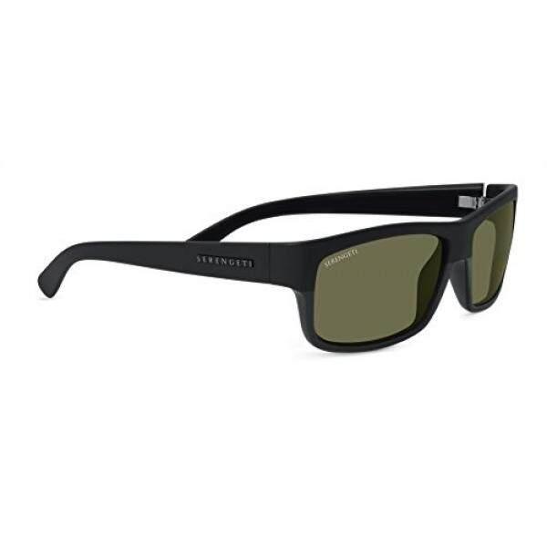 Serengeti Martino Sunglasses, Shiny/Matte Black Frame, Polarized 555nm Lens - intl