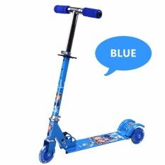 Small Metal Foldable Kids Scooter With Flash Wheel (blue) By Seoko Online Store