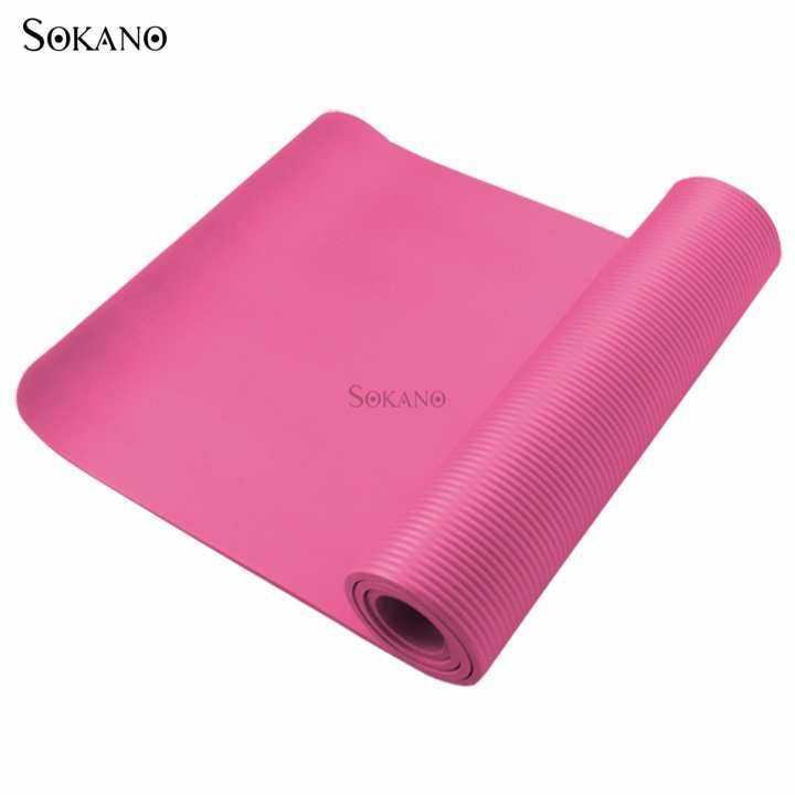 SOKANO Premium Grade 10mm Non Slip NBR Yoga Mat- Pink