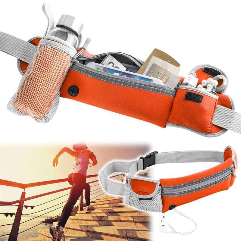 Sport Hiking Running Belt Waist Pouch Fanny Pack Camping Zip Bag W/bottle Holder-Orange By Better Me.