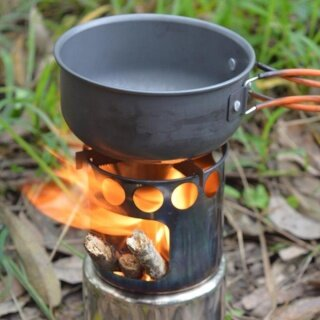 Bếp Đốt Gỗ Nấu Ăn Cắm Trại Dã Ngoại Ngoài Trời Bằng Thép Không Gỉ thumbnail