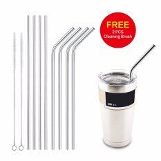 Stainless Steel Straws Reusable 10.5 inch Extra Long Drinking Straws Set Silver