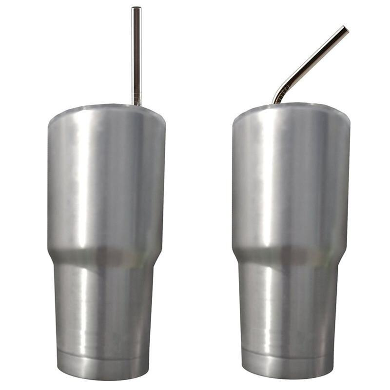 Stainless Steel Straws Reusable 10.5 inch Extra Long Drinking Straws Set Silver - intl