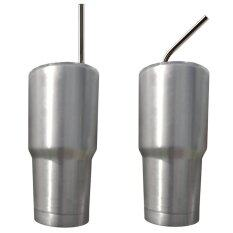 Stainless Steel Straws Set Reusable 10.5 inch Extra Long Drinking Straws Silver
