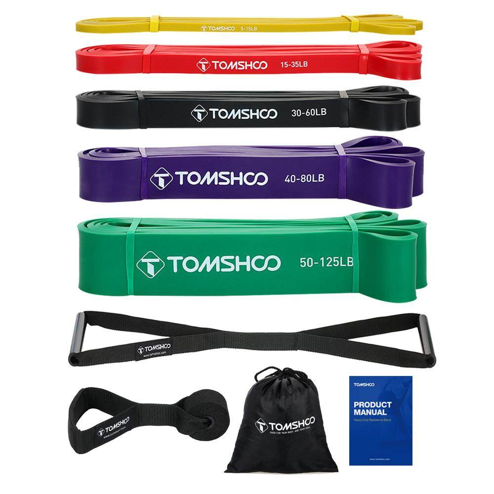 Tomshoo 5 Packs Pull Up Assist Bands Set Resistance Loop Bands Powerlifting Exercise Stretch Bands With Door Anchor And Handles Intl Price Comparison