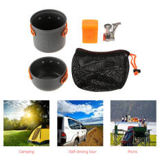 MYR 49. TOMSHOO Outdoor Camping Hiking Cookware with Mini Camping Piezoelectric Ignition Stove Backpacking Cooking Picnic Pot Set ...