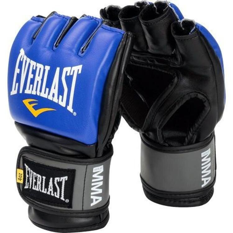 MMA Grappling Mittens PU Breathable Half Finger Punching Boxing Gloves Blue