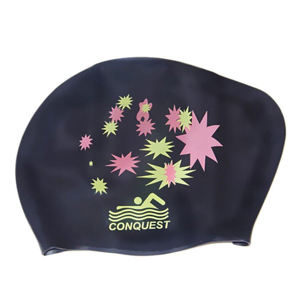 Up Waterproof Silicone Swim Cap Hat untuk Wanita Wanita Rambut Panjang  dengan Telinga Cangkir Hitam- 54faccd240