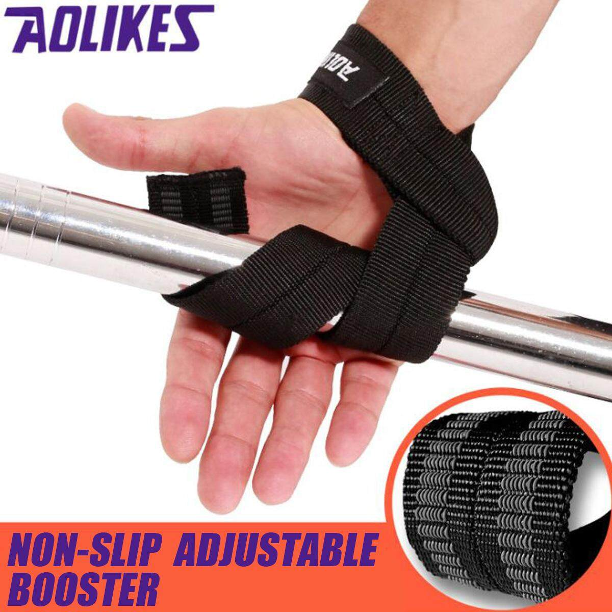 Weight Lifting Bar Grips Straps Wrist Support Gym Training Wraps Bangage Gloves -Black - Intl By Tomorr.