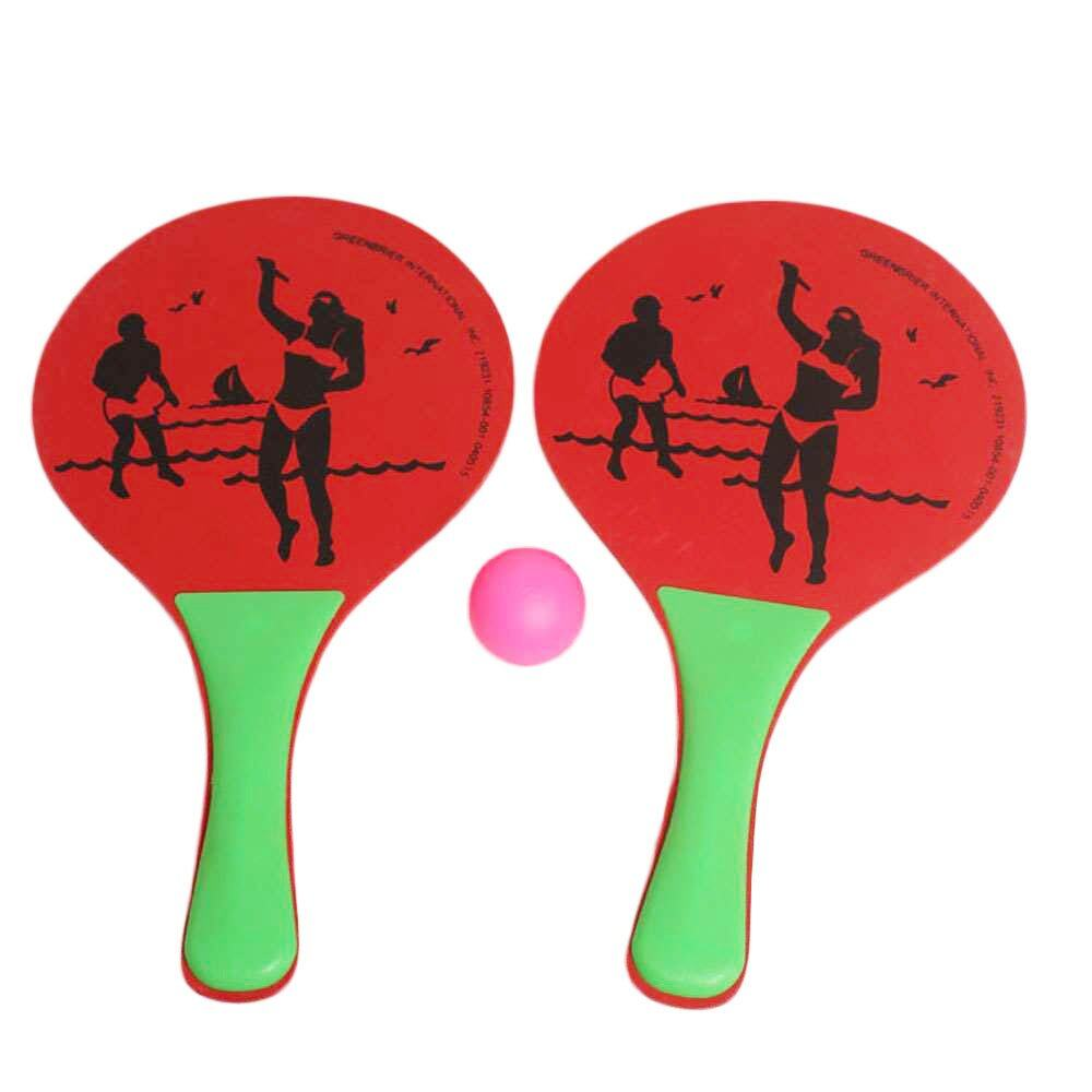 Hình ảnh Wooden Beach Ball Racket High Density Wood Plate Paddle Parent-Child Favorite Hot Toys Kids Outdoor Fun Toy Sport Party Favors - intl