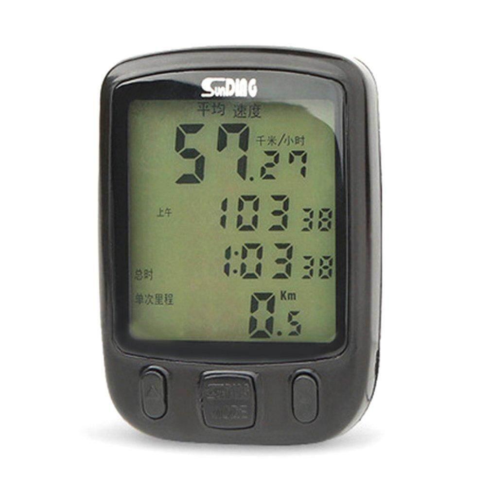 Xin 563B Tampilan LCD Anti-Air Bersepeda Sepeda Komputer Odometer Speedometer dengan Hijau Lampu Latar Versi Bahasa Inggris Hitam-Internasional
