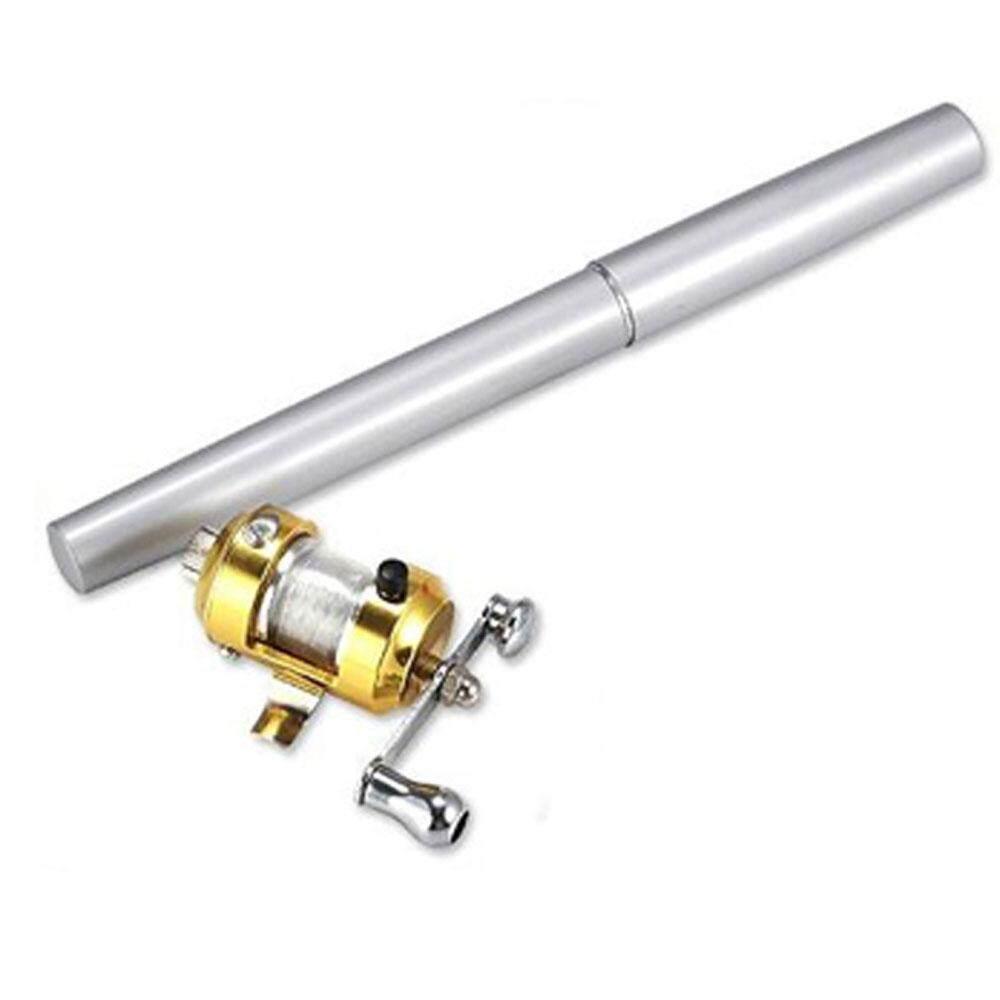 Xunmei Mini Saku Aluminium Paduan Drum Roda Pulpen Bentuk Pancingan (Perak)-Internasional