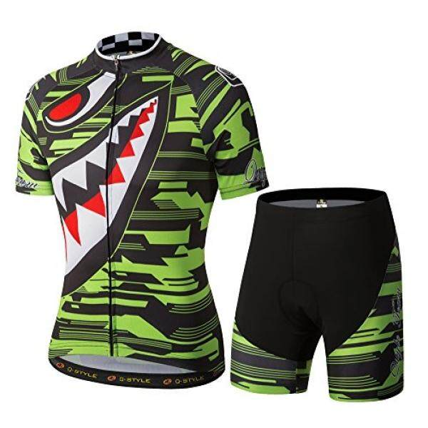 YUWELL Mens Polyester Short Sleeve Cycling Jersey and Shorts Set Sharp Tooth Design Shirt Breathable Quick-dry - intl
