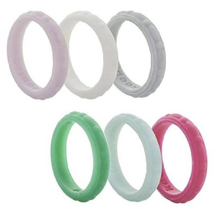 ZR Silikon Pernikahan Lingkaran untuk Wanita Silikon Pernikahan Tali-6 Pack-Karet Stackable Berlian Tali Jewel Desain Bata -Internasional