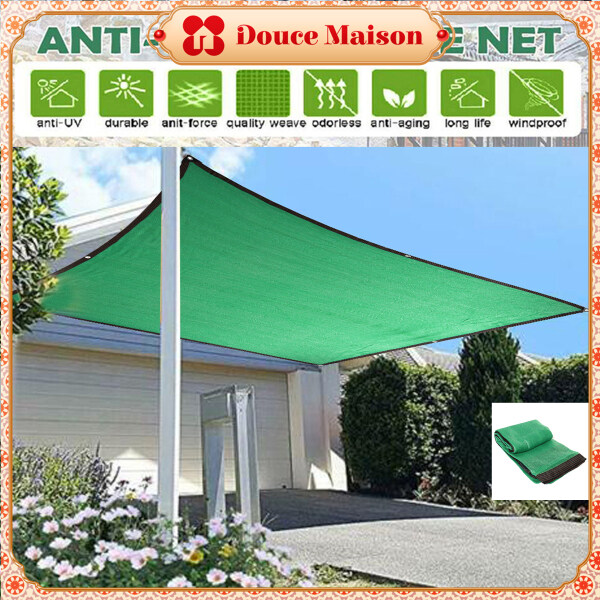 ?Douce Maison? UV Blocking Waterproof Windproof Sun Shade Sails Canopy Awnings Hemming for Outdoor Garden Lawn Swimming Pool Yard Beach 2M-6M