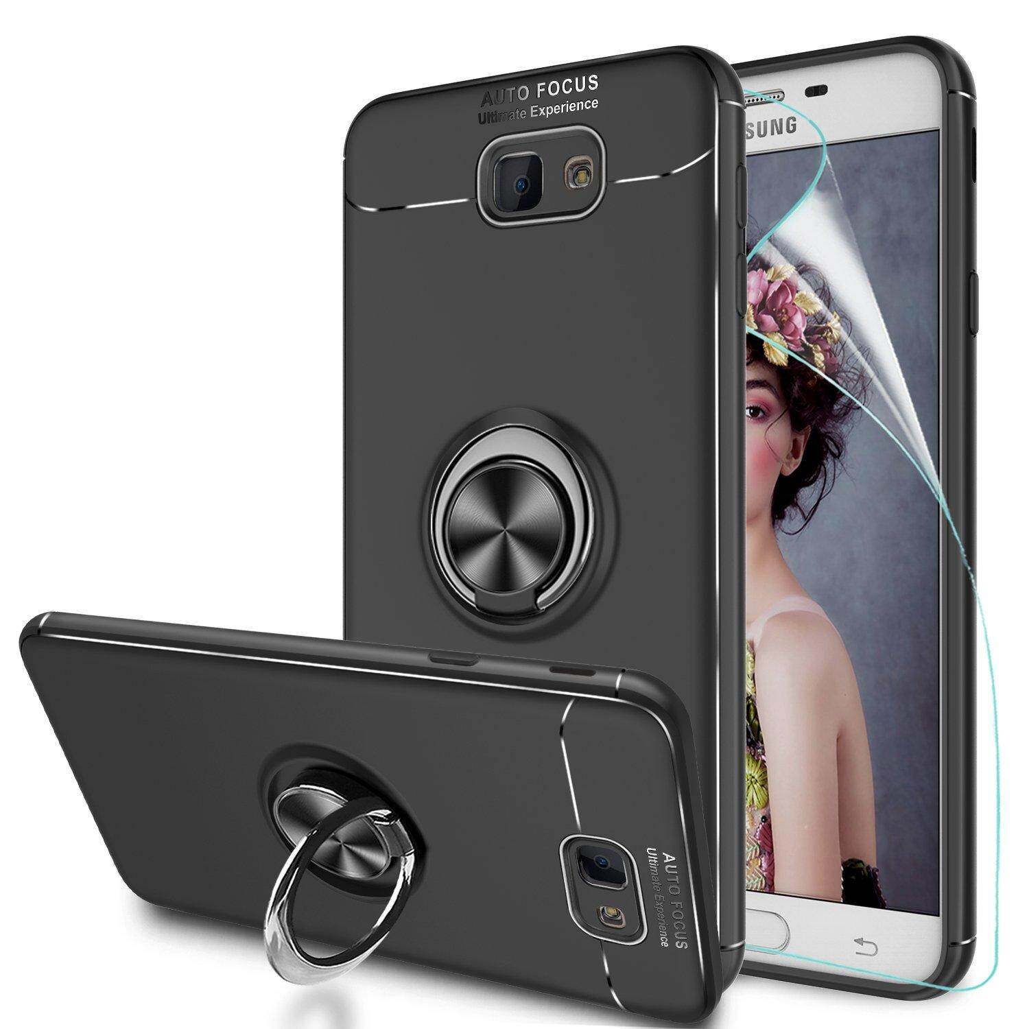 AOOBCC Galaxy J7 Prime Case with Ring Holder, Rotating Kickstand Stand for  Car Magnetic Mount Slim Soft Shockproof Silicone Gel TPU Phone Cover for