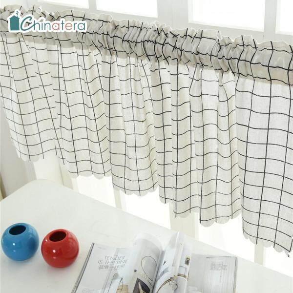 [Chinatera] Sọc Kẻ Ô Kiểu Nhật Bản 150X45Cm Rèm Ngắn La Mã In Hình Cá Voi Hồng Hạc Tủ Bếp Ban Công Màn Chắn Sáng Nửa Rèm Viền Rèm Ngắn