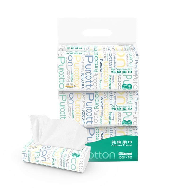 Purcotton Cotton Tissue 40g,20*20cm,100p/bag,6bag/pack By Purcotton Store.