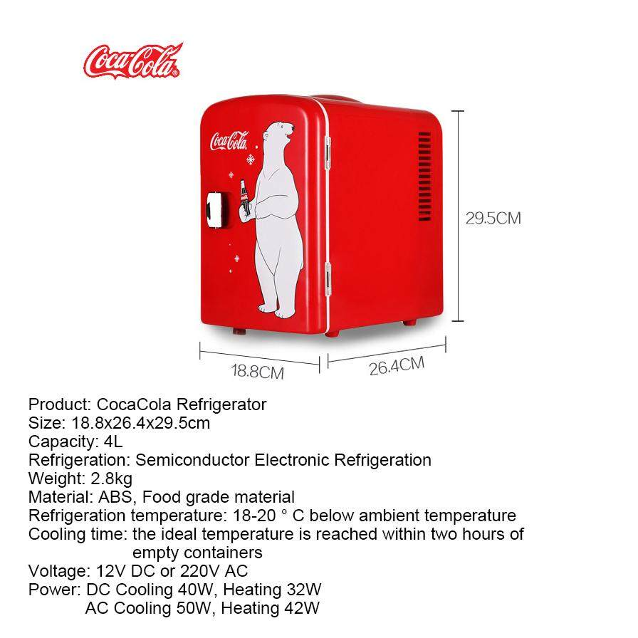 AGWS Coca-Cola Mini Fridge Electric Cooler and Warmer (4 Liter / 6 Can)  Portable Thermoelectric System