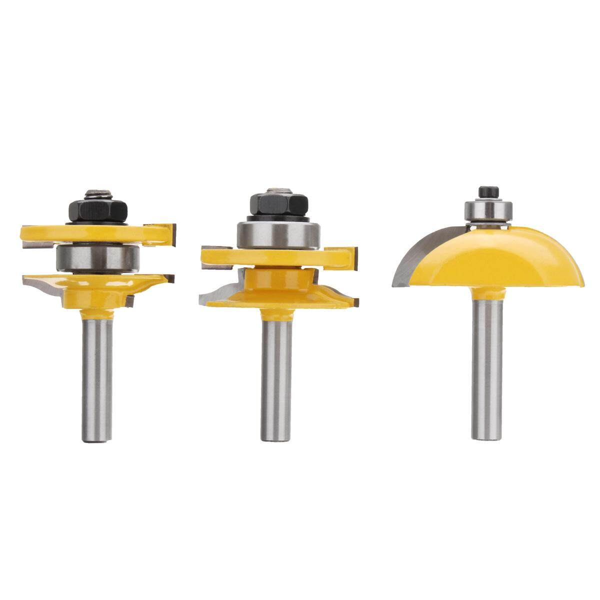 3PCS 8mm Shank Raised Panel Router Bit Set Cabinet Door Woodworking Cutter Kit