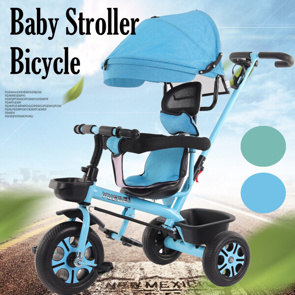 Blue Baby Stroller Bicycle Foldable 4-in-1 Tricycle for Baby Singapore