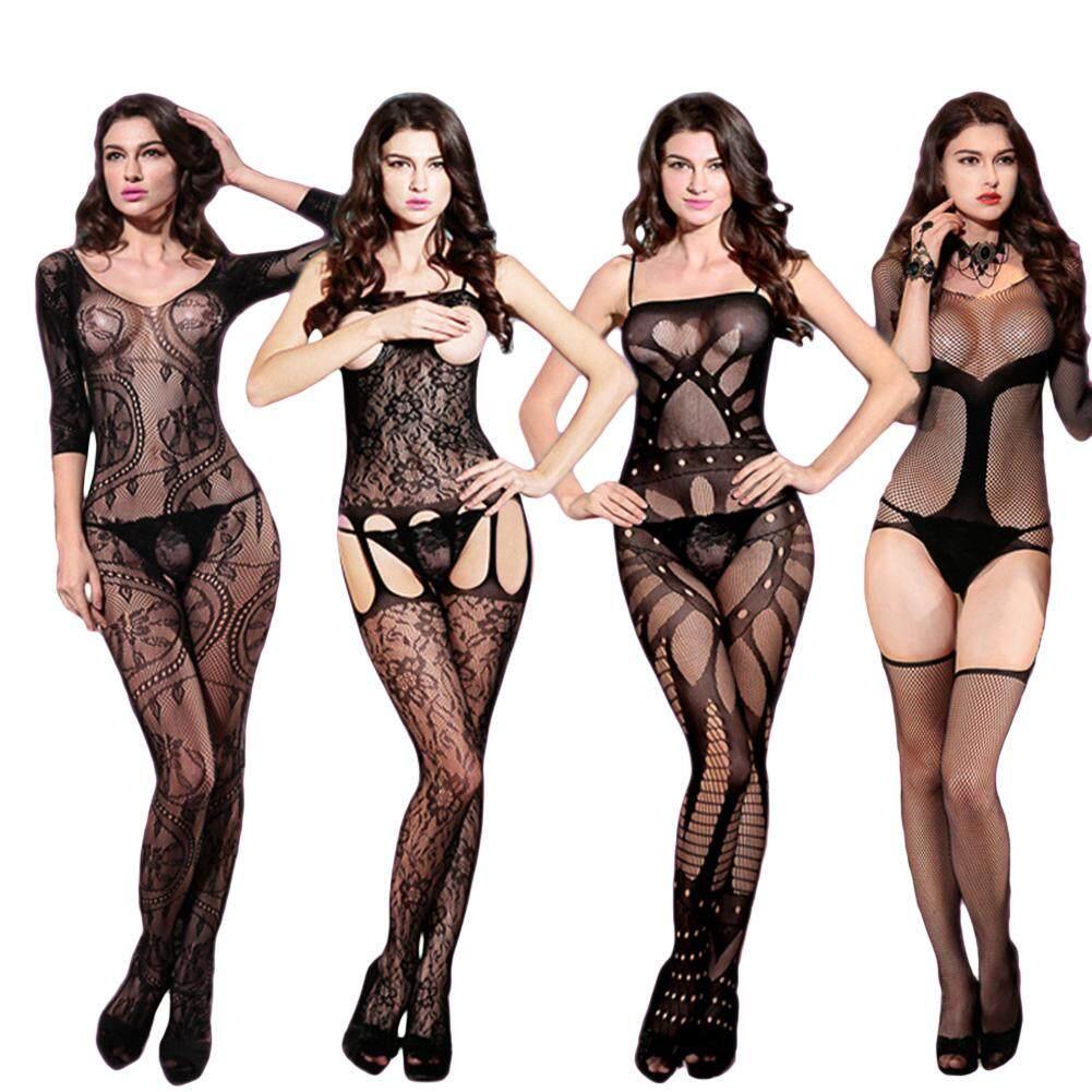 Sexy Lưới Rỗng Ra Trong Suốt Body Váy Ngủ Đồ Ngủ Jumpsuit