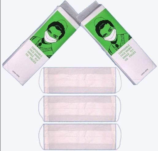 10000pcs/100boxes/ctn 1ply Disposable Paper Face Mask, Ear Loop, Single Ply, White