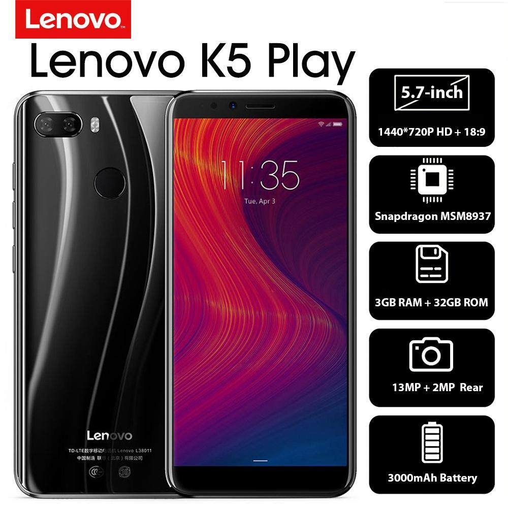 Lenovo K5 Play 4G Mobile Phone Face ID 5 7-inch HD+ 18:9 Display Snapdragon  MSM8937 Octa-core 3GB+32GB 13MP+2MP Rear 8MP Front Camera