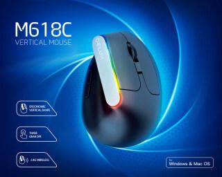 Chuột Không Dây Dọc Delux M618C Tiện Dụng 6 Nút 1600DPI Chuột 3D Quang Với Đèn LED Cho PC Laptop Máy Tính thumbnail